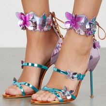 New Design Women Fashion Straps Cross 3D Butterfly High Heel Sandals Ankle Wrap Lace-up Stiletto Heel Sandals Dress Shoes trendy iridescent color and stiletto heel design sandals for women
