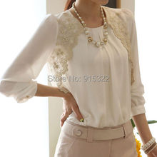 Fashion Korean Shirt For Women Blouse Long Sleeve Embroidered Chiffon Blouses Casual Tops White Clothing S M L