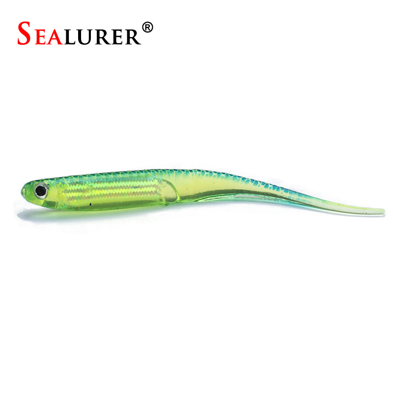 SEALURER 6pcs/lot Soft Lure 2.6g/9cm for Fishing Shad Fishing Worm  Jig Head Soft Lure hollow Paddle Tail Fishing Bait Swimbait