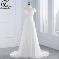 2018 New Arrival A line V neck Cap Sleeve Empire Appliques Lace Backless Bridal Dresses vestido de noiva Beach Wedding Dresses