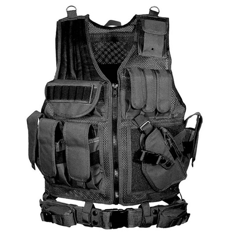 Men's Military Hunting Tactical Vest Molle Airsoft Hunter Vest Body Armor Swat Army Combat Black Camouflage CS Vest for Men us army cp camouflage tactical vest 600d nylon molle military cs paintball vest combat vest