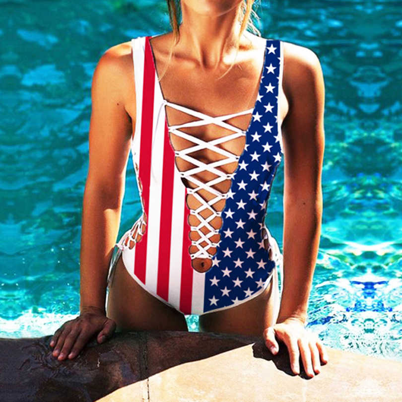 2019 Fashion Strappy American Flag Swimwear One Pieces Bodysuit Sukumizu Women Lady Sexy Swimsuit Bikini Beachwear Bathing Suit