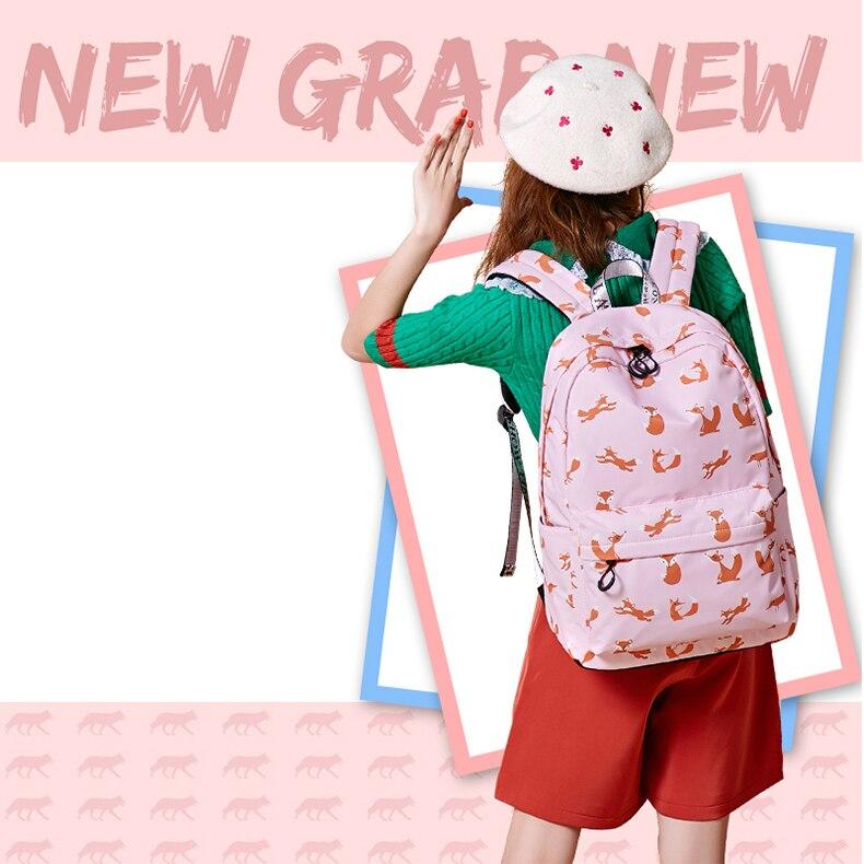 WINNER Cute Animal Fox Printing School Backpacks Waterproof Women Bag Laptop Backpack Female Mochila Bolsas E Sacolas (14)