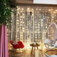 3x3m Connectable lumière LED rideau clignotant fée lumières guirlande fenêtre 220V 110V fête de mariage vacances éclairage décoration de la maison