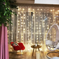 3x3 м подключаемый СВЕТОДИОДНЫЙ занавес  мигающие сказочные огни  гирлянда  окно 220 В 110 В  Свадебная вечеринка  праздничное освещение  домашне...