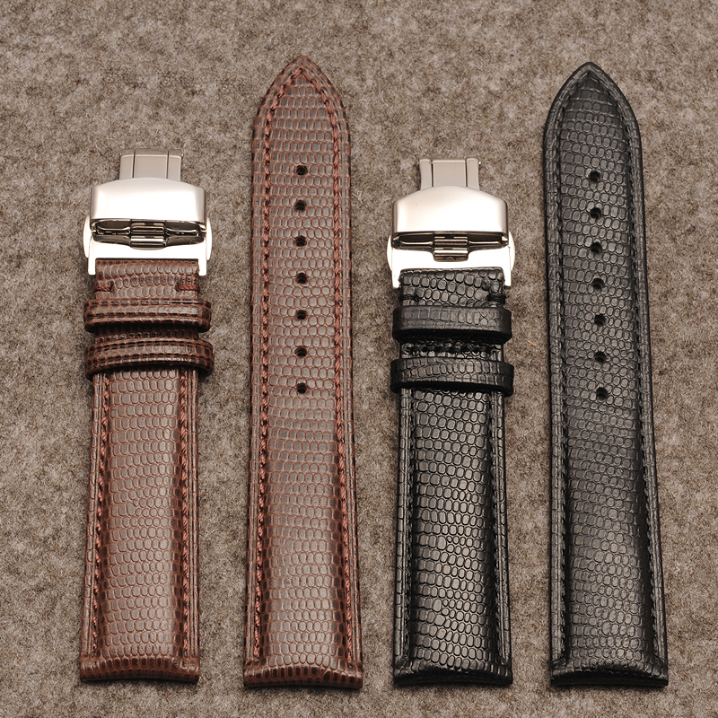The latest calfskin lizard pattern leather strap snake pattern black / brown men and women watch accessories lizard pattern stra цена