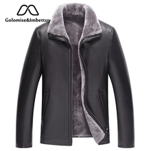 Golomise&Imbettuy Genuine Sheepskin Leather Jacket Natural Lamb Fur Liner Parka Coat Men Real Leather Shearling Fur Jacket/Coat