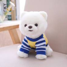 1PCS 25cm cute Pomeranian simulation plush stuffed toys, white Pomeranian dressing dolls, children toys, Christmas gifts