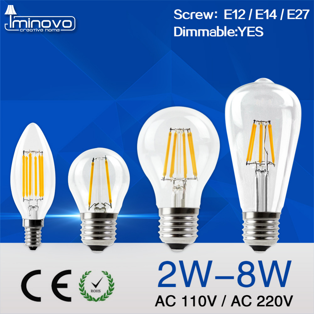 IMINOVO LED Filament Bulb E27 ST64 Dimmable Vintage E14 LED Candle Bulb Light C35 Retro Edison Lamp 110V 220V 4W 6W 8W Warm Cool dimmable g125 led filament bulb light edison e27 base 110v 240v ac g125 4w 6w 8w free shipping