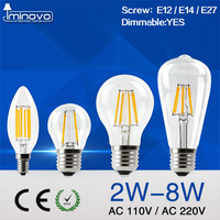 IMINOVO LED Filament Bulb ST64 A60 G45 C35 Candle Light Bulb Vintage Lamp 2W 4W 6W
