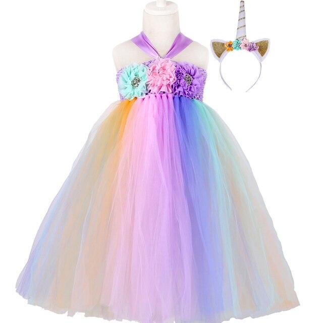 Pastel Rainbow S Tutu Dress With Headband Children Kids Pony Unicorn Costume Flower Wedding Birthday