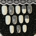 24pcs Cream Scrub Transparent Ornament False Nails Art Full Stickers Nail Art Decoration Tip nails Z130