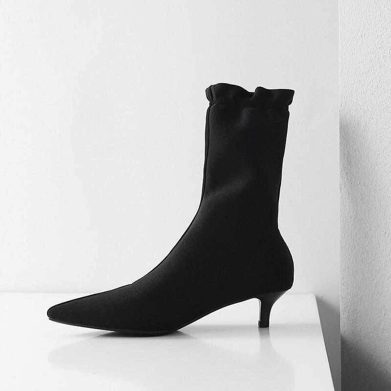 00cfb84079d37a Stretch Chaussures Mujer Pour Casual Tissu Bottes Européenne Femme Cheville  Black Botte Nouvelle Hiver Pointu Femmes Bout Botas xZOwYnqFnR