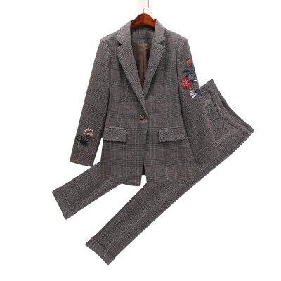Bordado Xadrez das mulheres terno de negócio da moda terno feminino terno carreira jaqueta seções longas temperamento casual two piece pantsut - 6