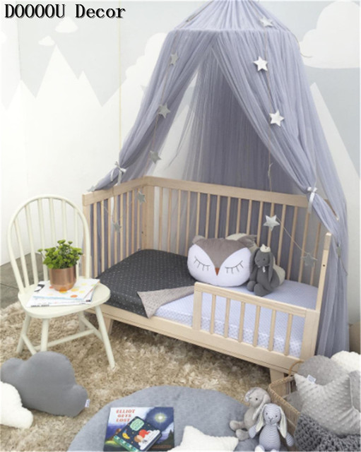 Nordic White Lace S Princess Dome Canopy Bed Curtains Round Kids Play Tent Room Decoration Baby