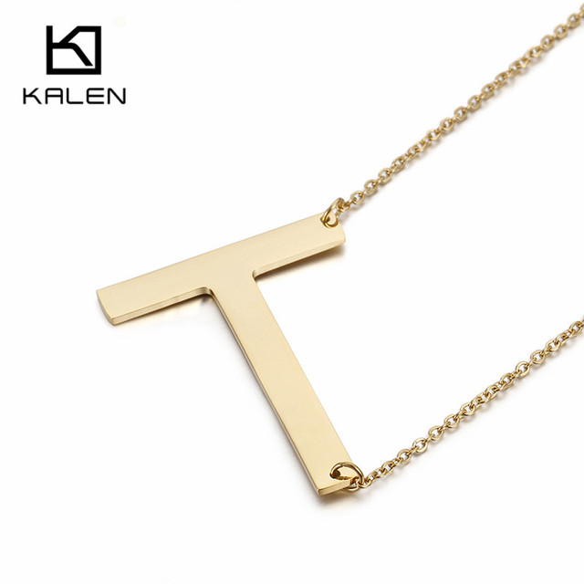 kalen thailand gold color capital letter t necklace men jewelry stainless steel english name initial letter