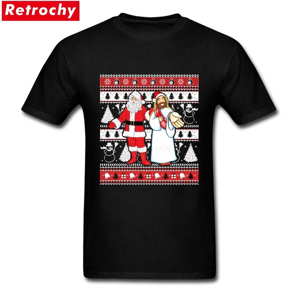 Short Sleeve Thanksgiving Day Custom Santa and Jesus Ugly Christmas Sweater Design For Having Fun Shirt
