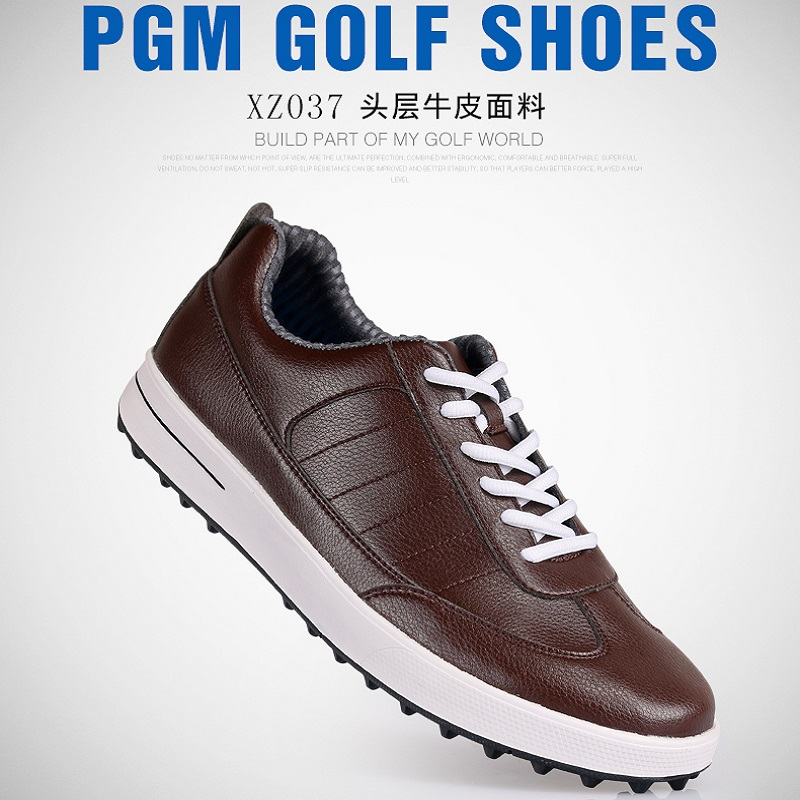 Oxford leather! PGM Golf Shoes Men's Sports Shoes genuine without spikes ultra sof Super waterproof breathable Golf  men shoes genuine pgm golf shoes men waterproof xz937 rubber cotton fabric eva breathable beginner white zapatos de golf deporte golf shoe