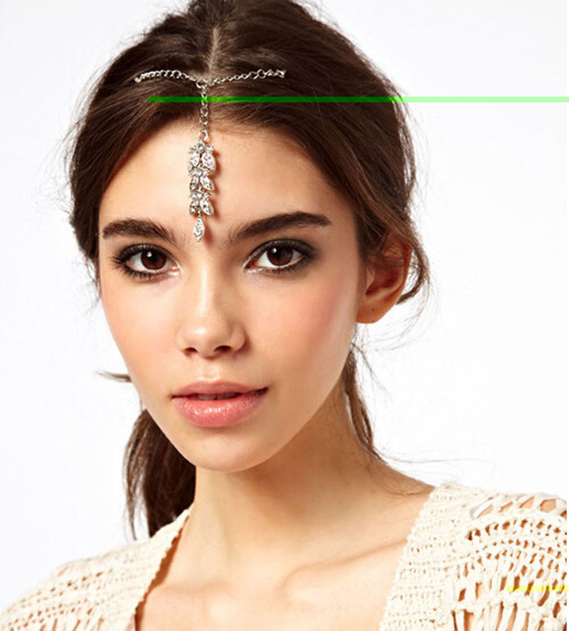 Wedding Party Jewelry Indian Hair Pin Cuff Wrap Silver Crystal Leaf Pendant Forehead Chains Hairpin Wholesale 10 Pcs