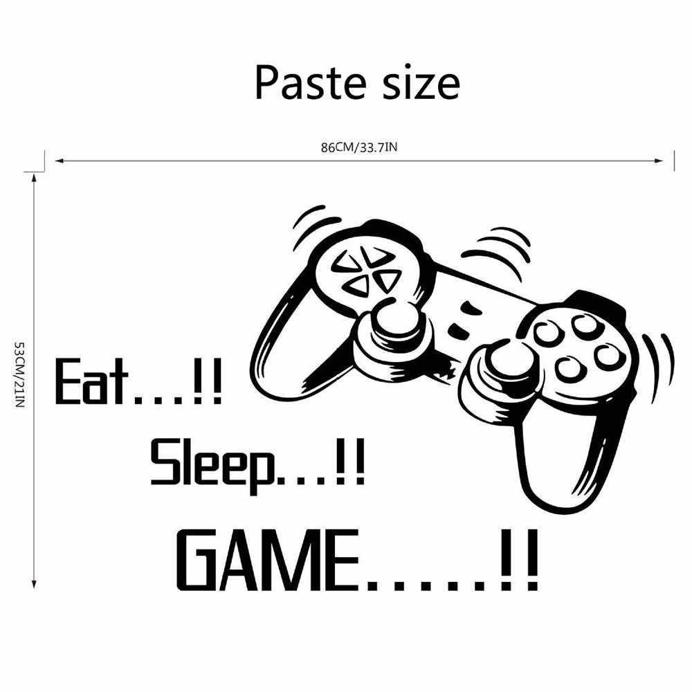 Eat sleep game letters vinyl wall sticker joystick gamepad gamer wall art design decal teen kids