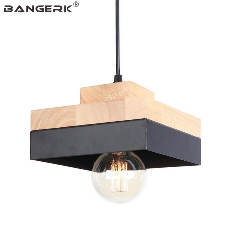 Loft Style Industrial Decor LED Pendant Light Modern Iron Wood Pendant Lamp Dining Room Hanglamp Home Lighting Fixtures