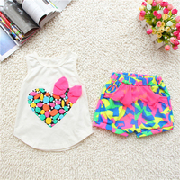 Top Sale Korean Children S Clothing Girls Love Vest Shorts Suit Children S Summer Set Girls