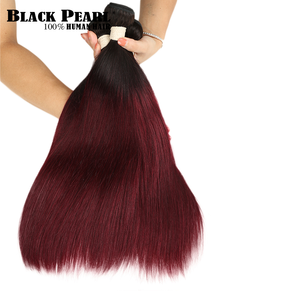 Liberal Black Pearl Ombre Brazilian Straight Hair T1b/99j Two Tone Human Hair Bundles 1 3 4 Bundles Non Remy Hair Free Shipping Online Discount Human Hair Weaves Hair Weaves