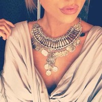 2015 Hot Tassel Exaggerated Long Silver Coin Necklace Women Fashion Statement Necklaces Pendants For Women Fashion