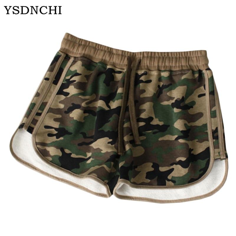 YSDNCHI 2018 Camouflage   shorts   Fashion basic new board   shorts   Women Loose Drawstring hot Pocket   Short   pants Camouflage   shorts
