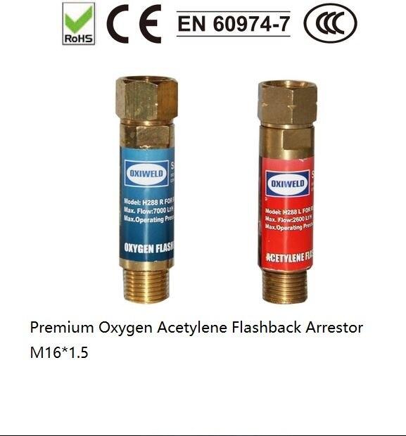 Premium Flashback Arrestor Oxygen Acetylene Check Valve Flame Buster M16*1.5 For Pressure Reducer Regulator Gas Cutting Torch oxygen pressure regulator yqy 07 copper o2 pressure regulators