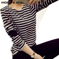 New Autumn Winter Fashion Women Ladies Clothes Striped Tops Long Sleeve Stripe Casual T shirt Girl Tees S-2XL Plus Size #01570