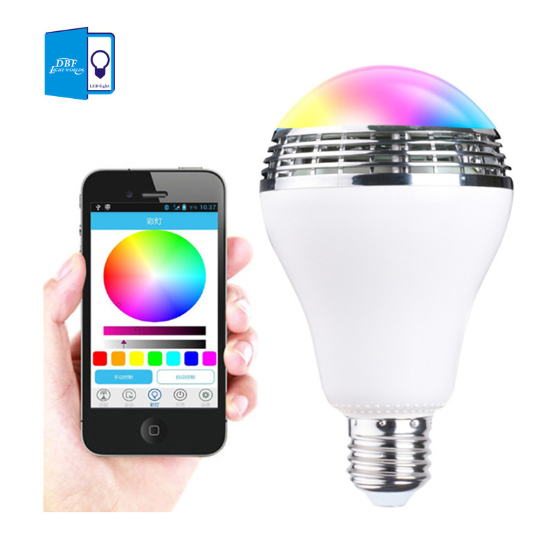 [DBF]Intelligent E27 10W RGB LED Music Bulb Smart Lighting Colorful Dimmable Speaker Light Bulb With APP Remote Control lumiparty intelligent e27 led white rgb light ball bulb colorful lamp smart music audio bluetooth speaker with remote control