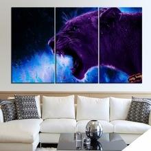 Fierce Lion Animal Painting 3 Piece Modular Style Canvas Print Type Picture Modern Home Decor Wall Artwork Poster Framework