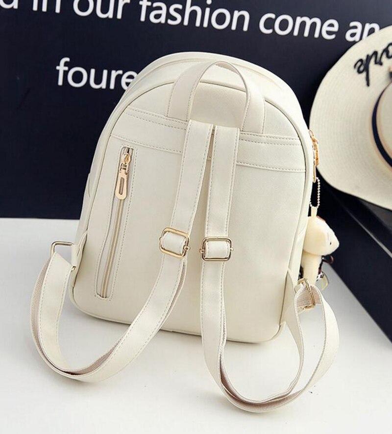COUGINM Fashion Women Composite Bags Pu Leather Bear Backpack Cute Bow 3Pcs Set Shoulder School Backpacks Teenage Girls Bag