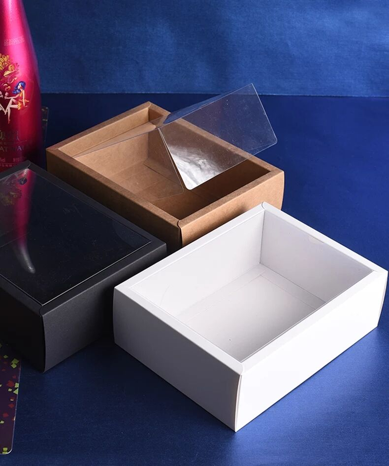 10pcs Folding Kraft Paper Box With Transparent PVC Window Gift Box Packaging Box Cajas De Carton Present Box