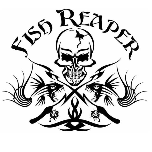 Pegatina Fish Skull Reaper Hunter Decal Angling Tackle