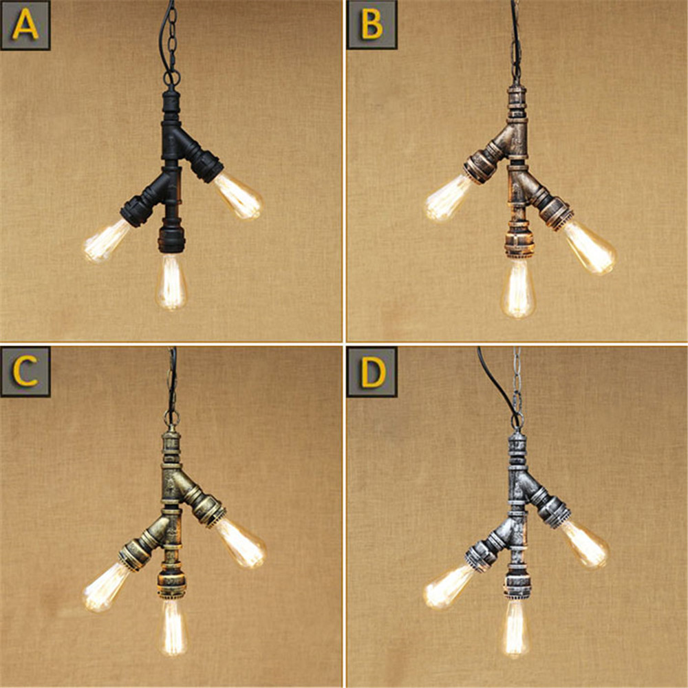 Nordic Village 3pcs E27 Edison bulb water pipe pendant lights Rustic Retro tree branch hanging lamp for Bar Cafe shop fixture vintage pendant lights retro water pipe pendant lamp e27 holder edison bulbs lighting fixture for warehouse diningroom ktv bar
