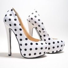 Neutral 2015 Pointed Toe High Heels Cover Black Dot Soft Leather White Sapato Feminino Platfrom Comfortable Office Ladies