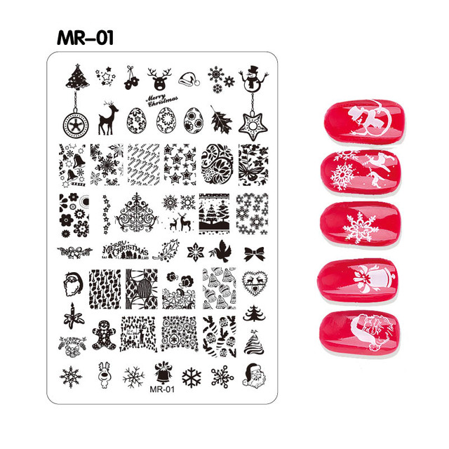 1pc MR Christmas Decorations Nail Stamping Plates Konad Art Manicure Template Stamp Tools
