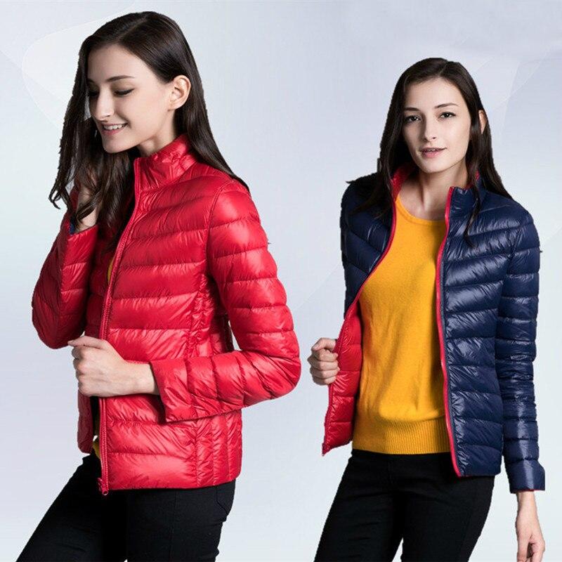 2018 Autumn Winter Double   Coat   Women Ultra Light   Down   Jacket Duck   Down     Coats   Female Lightweight Short Outwear Two Wears AB1009