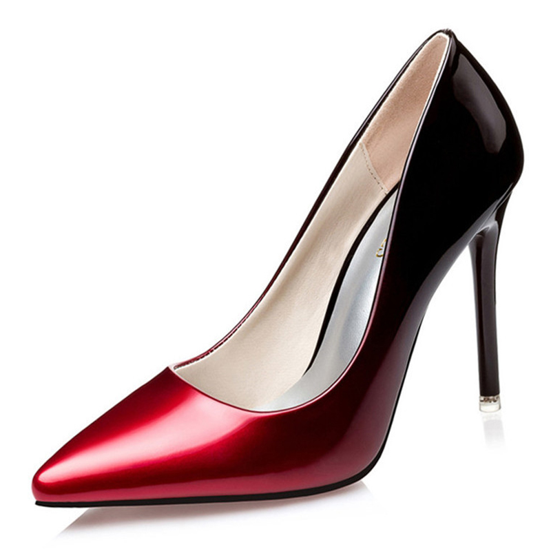 Women pumps Fashion gradient color High heels single shoes female Spring Summer patent leather wedding party shoes woman 2016 spring and summer free shipping red new fashion design shoes african women print rt 3