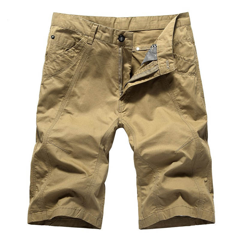 Short-Pants Overalls Slim-Fit Cotton Khaki Men's Casual Summer Fashion Brand Green Male
