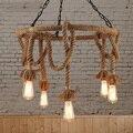 Лофт скандинавский Ретро пеньковый Канат подвесной светильник американский кантри магазин одежды кафе Подвесная лампа 110-240 В