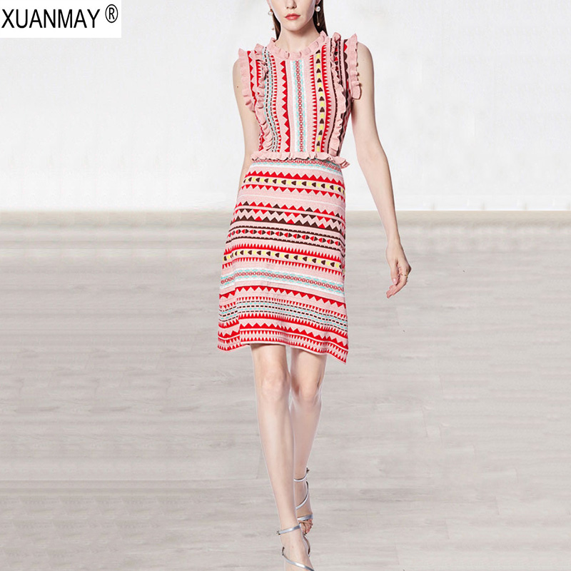 Summer Stretch Slim Love Pattern Of Knitted Jacquard Bohemia Sweater Dress Fashion Streetwear Pink Summer Knit Sweater Dress