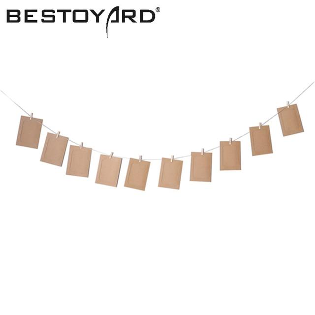 10 unids DIY 6 colgante pulgadas clip de Kraft papel fotográfico ...