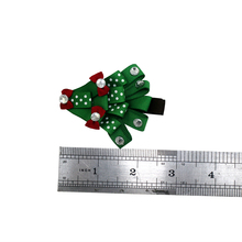 Adogirl 10pcs 3 Inch Christmas Tree Hair Clips Lovely Crystal Bowknot Xmas Party Bows Hairpins for Girls Accessories