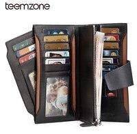 Men Long Wallet Genuine Leather Multi Card Holder Fashion New Multifunction Purse Organizer Wallet Zipper Checkbook