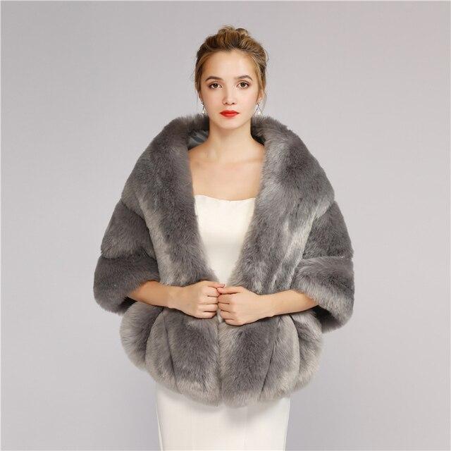 508a880bde Elegant faux fur Stoles Wedding Wrap Winter Wedding Bolero Jacket Bridal  Coat Evening Dress Cape Coat 2018
