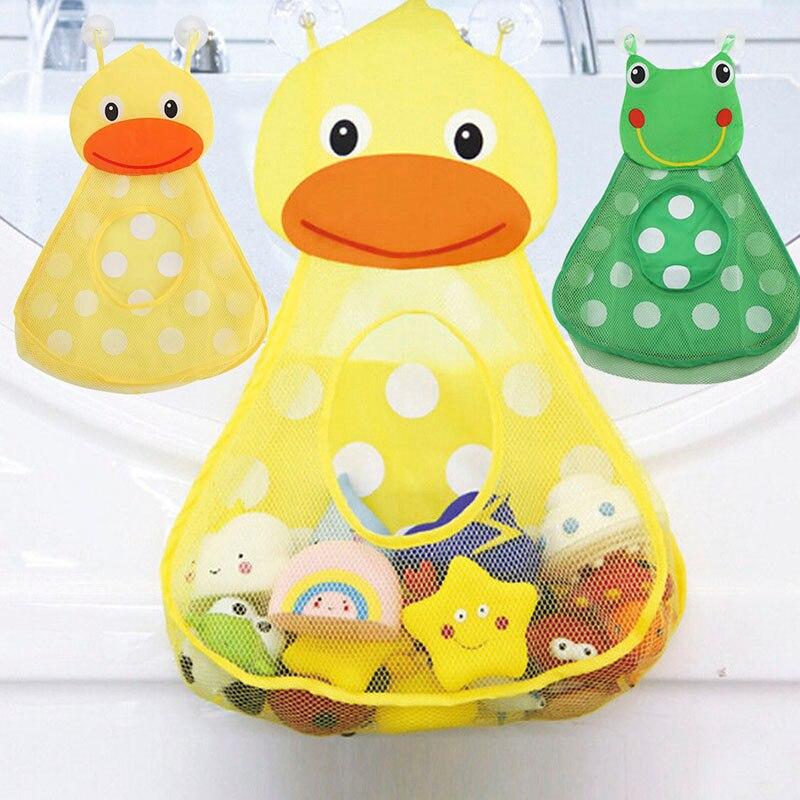 Suction Cup Hanging Storage Bag Duck Frog Bathroom Pool Toy Mesh Net Storage Basket Bath Water Balloons Baby Toys Organizer