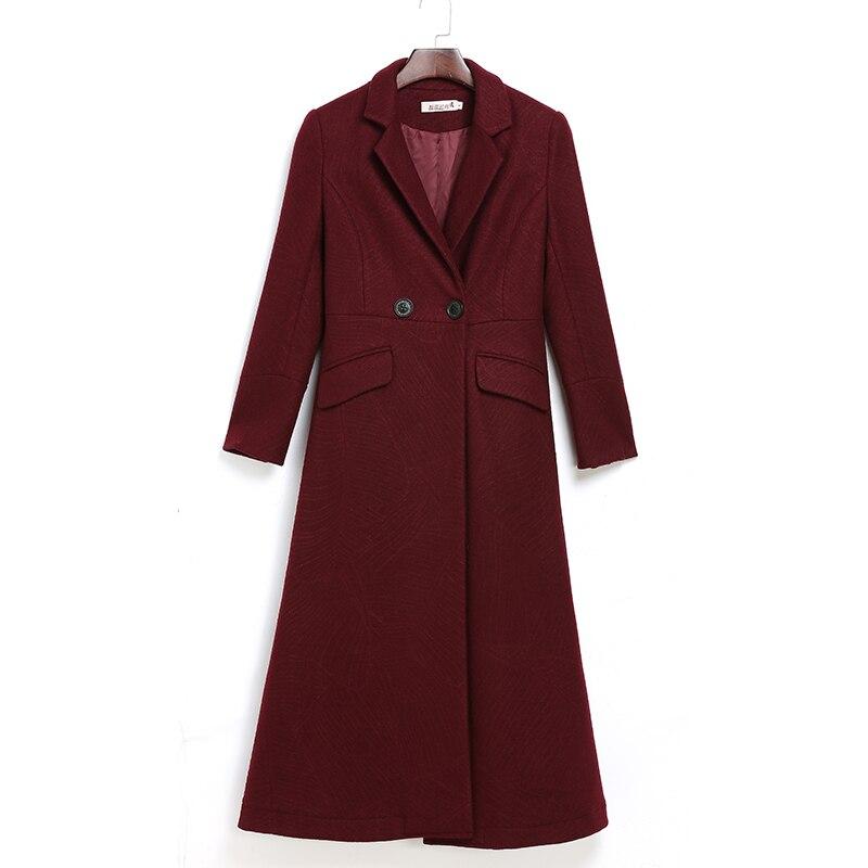 Solide Femelle Hiver Long Manteau Dark Green Laine Femmes jujube Coréenne Couleur Taille Chaud Épais Mince Plus Vêtements Automne Survêtement 3xl afqd7nwfW